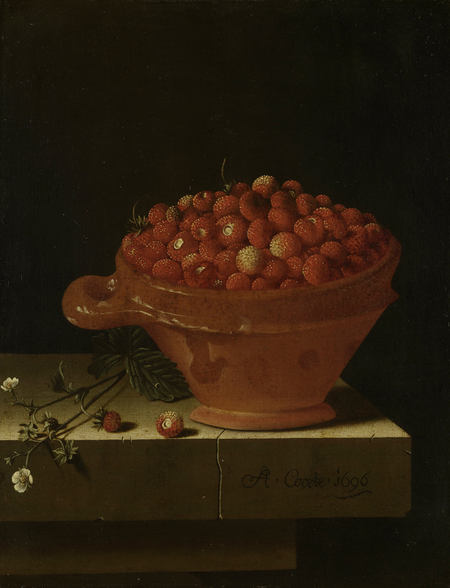 A Bowl of Strawberries on a Stone Plinth (1696) by Adriaen Coorte