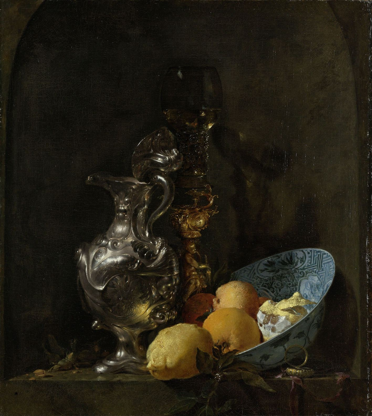 Still Life with a Silver Jug and a Porcelain Bowl (1655-1660) by Willem Kalf